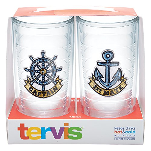 Tervis Captain First Mate Emblem Bottle, 16-Ounce, Pack of 2, On The Water