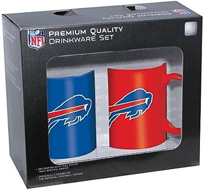 NFL Buffalo Bills Ceramic Mug Set (2-Piece), 11-Ounce, Clear
