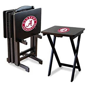 NCAA Alabama Crimson Tide TV Snack Trays with Storage Rack (Set of 4) by Imperial