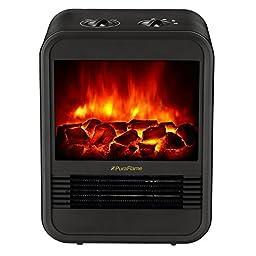 PuraFlame Clara Black 9 inch Mini Portable electric Heater,perfect for office,  1250W