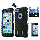 LK for iPhone 5C Combo Hard Soft High Impact Armor Hybrid Case Skin Gel with screen protector (Blue/Black)