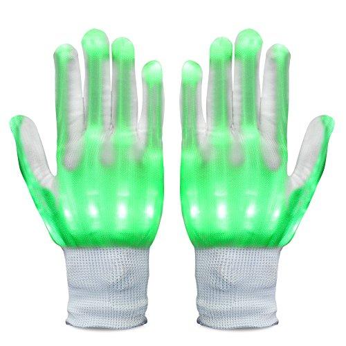 VBIGER 光る手袋 LEDグローブ ハロウィン ステージ ダンス イベント コンサート 余興 夜釣り(発光 緑)