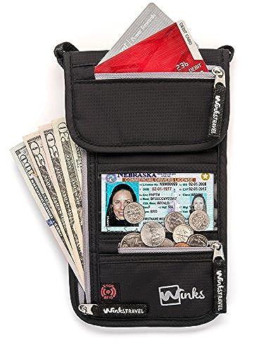 03. Travel Neck Wallet Passport Holder w/ RFID Blocking - Premium Traveling Pouch