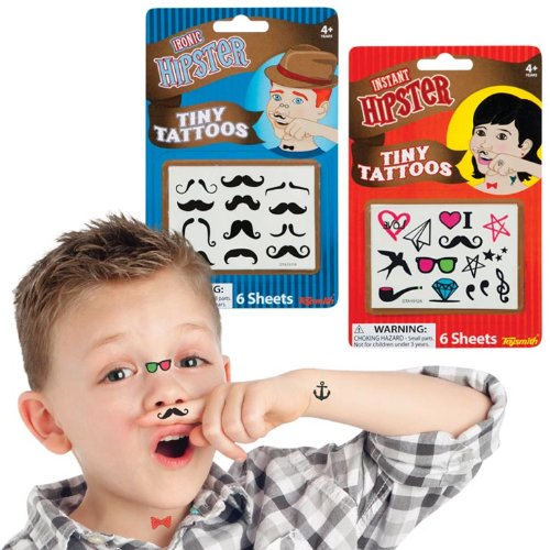Mini Moustache and Hipster Tattoos