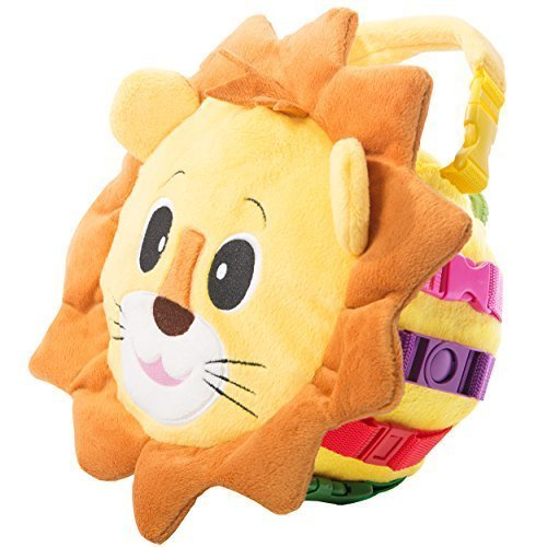 buckle-toy-benny-lion-bag-toddler-early-learning-basic-life-skills-childrens-plush-travel-activity-b