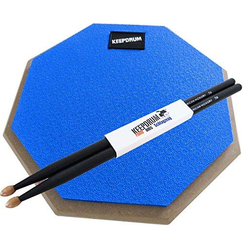 keepdrum-dp-bl-practice-pad-blau-drum-ubungspad-8mm-gewinde-1-paar-5bb-black-drumsticks