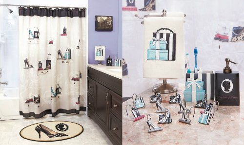 Fashionista Glam Old Hollywood Paris Couture Shoes Purse Fashion Bath  Ensemble Shower Curtains U0026 Hooks Lotion Dispenser Pump Soap Dish 2pc Hand  Towel ...