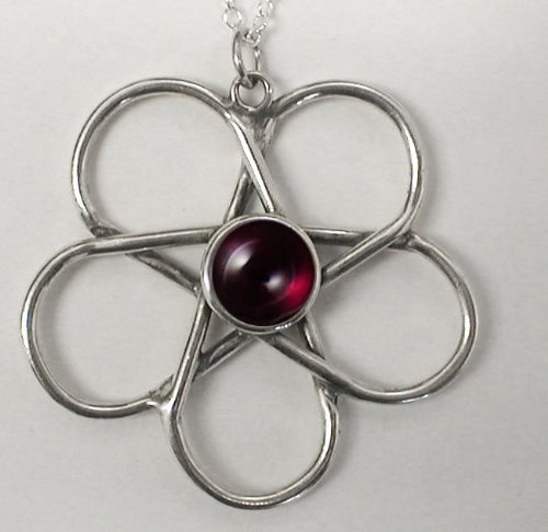 Sterling Silver Hidden Pentagram Accented with Genuine Amber ...Do You See It?