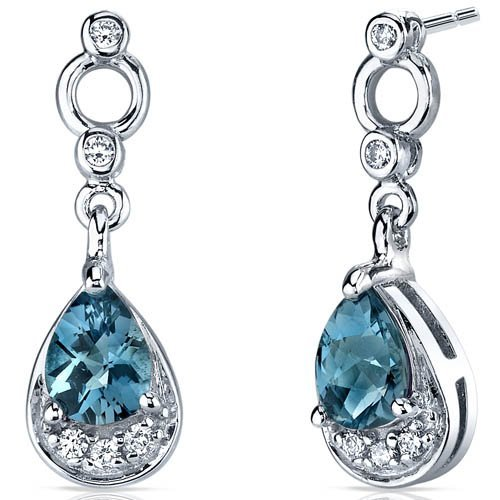 Peora Simply Classy 1.50 Carats London Blue Topaz Dangle Earrings in Sterling Silver Rhodium Finish