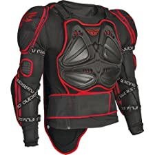 Fly Racing Barricade Long Sleeve Adult Roost Deflector Motocross/Off-Road/Dirt Bike Motorcycle Body Armor - Black/Red / Medium