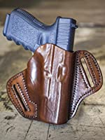 OUTBAGS LOB2P-G19 Brown Genuine Leather OWB Open Carry Pancake, Side Carry Belt Holster for Glock 19 G19 9mm / Glock 23 G23 .40 / Glock 32 G32 .357 / Glock 38 G38 .45GAP. Handcrafted in USA.