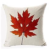 Nordic Literary Autumn Maple Leaf Cotton Linen Throw Pillow Case Pillowcase Houseware,18inch