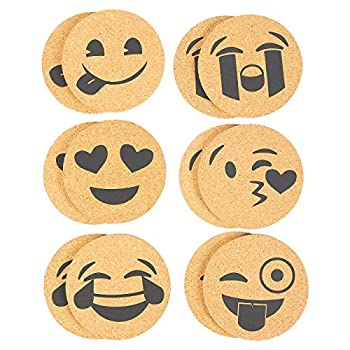 Pack of 12 Drink Coasters - Beverage Coasters Funny Novelty Cork Coasters for Drinks, Bar Drink Coaster Set, 4 x 0.19 inches