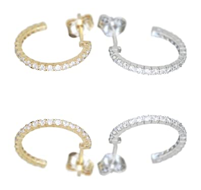 Hobra Gold Small Hoop Earrings White Gold From 585 Gold with Cubic Zirconia Stud Earrings 14 K Gold Hoop Earrings