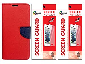 Colorcase Flip Cover Case for Lenovo A6000 A6000 Plus & A6010 with 2 Screenguards