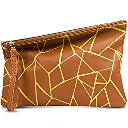 Leah Lerner Women Leather Clutch Brown Printed ORIGAMI Pattern