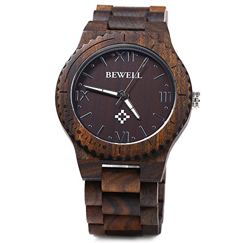 Bewell ZS - W065A Wood Men Quartz Watch Roman Numeral Scales (EBONY WOOD)