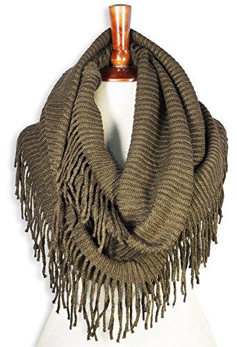 Basico Winter Warm Knit Infinity Scarf Tassels Cowl Loop (One Size, G-Camel)