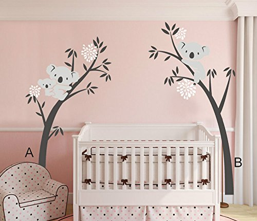 """Yanqiao 79.9x96.5"""" Very Big Children Room Cartoon Lovely Three Koalas Family Tree Wall Decals Removable Wall Stickers Home Decoration"""