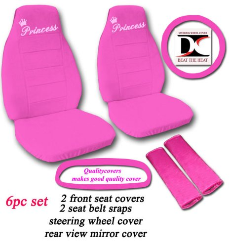 6 Piece set. Hot Pink Princess seat covers, steering wheel cover, seat belt cover and rear view mirror cover. Universal seat covers. (Princess Car Steering Wheel Cover compare prices)