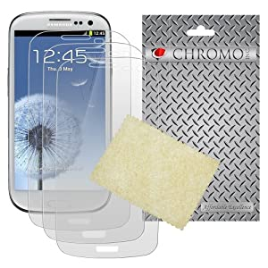 Chromo Inc.® 3X Crystal Clear Screen Protector Shield for Samsung Galaxy S III S3 - 3 Pack + Cleaning Cloth - Chromo Inc.® Retail Packaging
