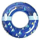 マリン 柄 浮き輪 取っ手 付き 91cm 波 の 出る プール に ウォーター スライダー に 大人用 子供用 持ち手 付き フロート うきわ (ブルー)