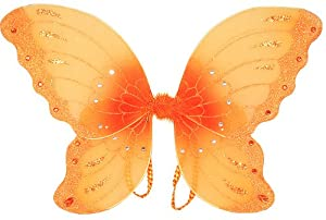 "Jewel Butterfly Fairy Wings (21"") Select Color: Orange"