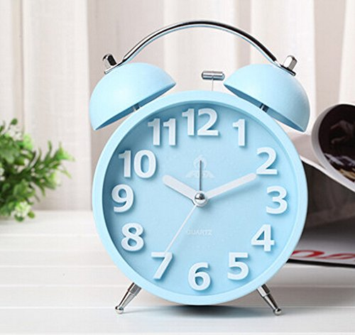 VIVISKY Candy Color Nightlight Silent Quartz Analog Twin Bell Alarm Clock Large Hourly Number Reto Non Ticking Alarm Clock (blue)