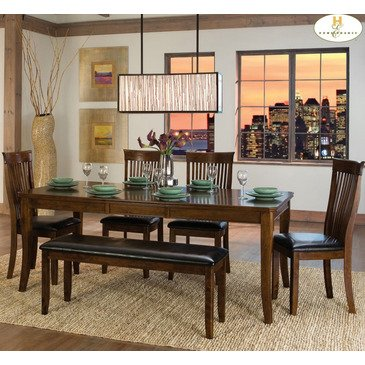 Homelegance Alita 6 Piece Extension Dining Room Set in Warm Cherry