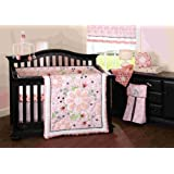 Beansprout Camille 6 Piece Crib Set, Pink/White (Discontinued by Manufacturer)