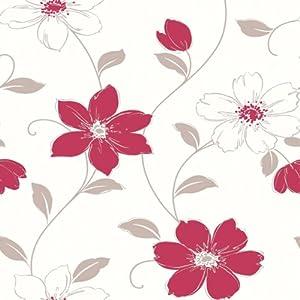 arthouse tapete 871104 anouska blumen rot taupe. Black Bedroom Furniture Sets. Home Design Ideas