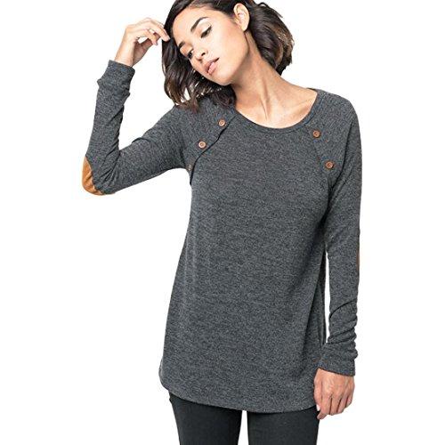 FAPIZI ♥ Women Sweater ♥ Women Long Sleeve Round Neck Button Blouse Tops (L, Gray)
