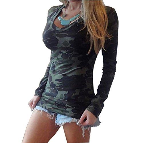 Amlaiworld Moda donna tuta mimetica con scollo a v stampa t-shirt Casual (S)