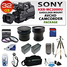 Sony Hxr-mc2000u Shoulder Mount Avchd Camcorder with 32gb Sdhc Memory , 2 Extra Replacement Batteries, 3 Extra Lens, Hdmi, Deluxe Soft Carrying Case, Aluminum Tripod & Much More