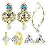 Jewels Galaxy Hot Deal Combo Of Fancy American Diamond Earrings, 1 Fashion Earring And 1 Earcuff - Combo Of 4