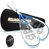 Unsquashable 2xDSP600 Squashschläger inkl. Squashball & Tasche ! weiss/blau