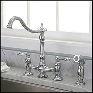 Chrome Kitchen Faucet with matching Sprayer Bridge Style