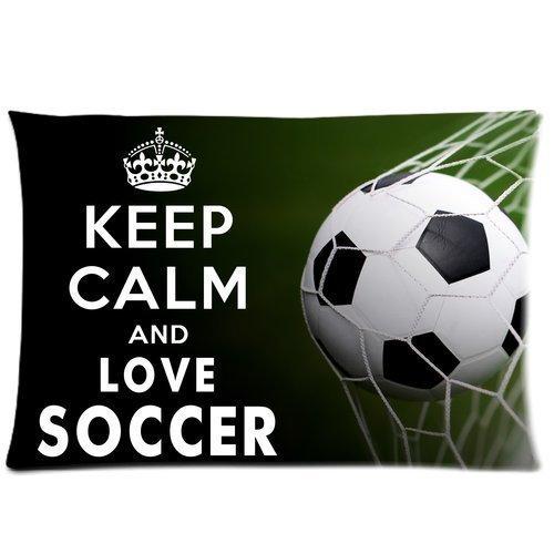 Custom Keep Calm and Love Soccer Pillowcase Soft Zippered Throw Pillow Cover Cushion Case Covers Fasfion Design Two Sides Printed 20x30 Pillows