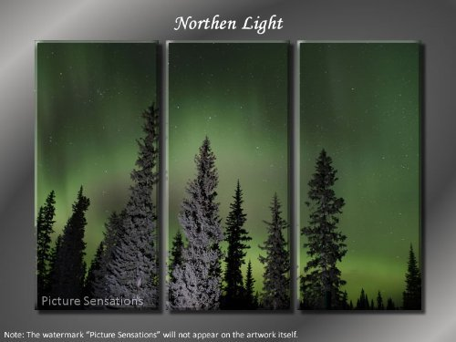 Framed Huge 3 Panel Art Tranquility Northen Light Giclee Canvas Print