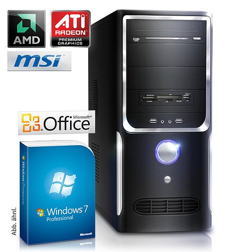 CSL Sprint 5672Pro - AMD Phenom 4x 3000 MHz, 8 GB RAM, 1000 GB HDD, Radeon HD 3000, DVD-RW, Gigabit LAN, Win7Pro, Office 2010