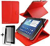 Red PU Leather Case Cover Stand for Yarvik TAB364EUK GoTab Gravity 8'' 8 Inch Android Tablet Pc + Screen Protector + Stylus Pen