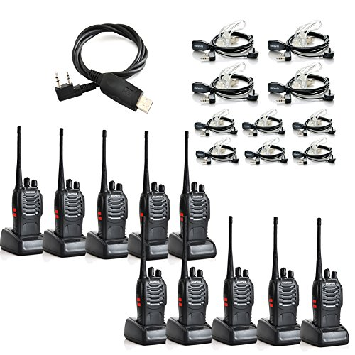 Baofeng Bf-888S Uhf 400-470Mhz 16Ch Ctcss/Dcs Flashlight With Earpiece Hand Held Mobile Amateur Radio Walkie Talkie 2 Way Radio Black 10 Pack And Retevis 2 Pin Covert Air Acoustic Earpiece Headset 10 Pack And Programming Cable
