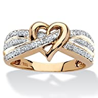 White Diamond 18k Yellow Gold over .925 Silver Crossover Heart Ring (.10 cttw, HI Color, I3…