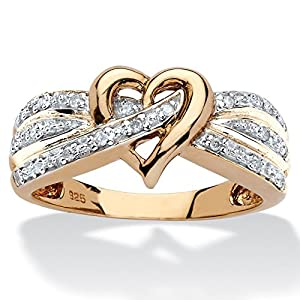 White Diamond 18k Yellow Gold over .925 Silver Crossover Heart Ring (.10 cttw, HI Color, I3 Clarity)