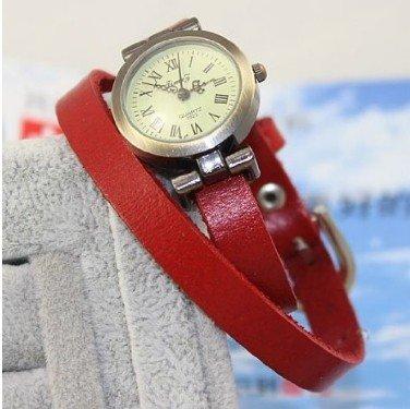 Kano Bak(Tm) Red Color Fashion Weave Wrap Around Leather Retro Bracelet Woman Girl Man Bo Wrist Gift Watch