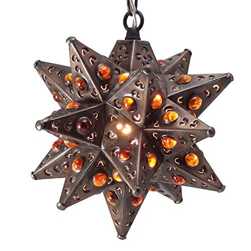 Moravian Star Light, Flower Pierced Tin, Amber Marbles, Bronze, 8