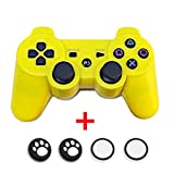 Bluetooth Wireless Dualshock PS3 Remote Game Gaming Controller Gamepad Consoles Joypad Joystick for Sony Playstation III with 6-Axis And Dual-Vibration (Yellow)