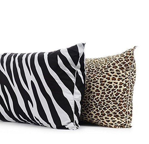 Set Of 2-Animal Print Body Pillow Protectors- 21''X54'' - Zebra front-985150