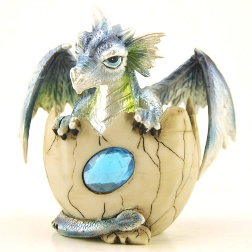 Baby Dragon in Egg with Birthstone, Collectible Figure, 4.5-inch