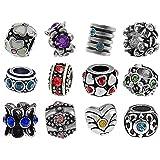 Timeline Trinketts Rhinestone Charm Bracelet Beads Fits Pandora Jewelry - Birthstone Set